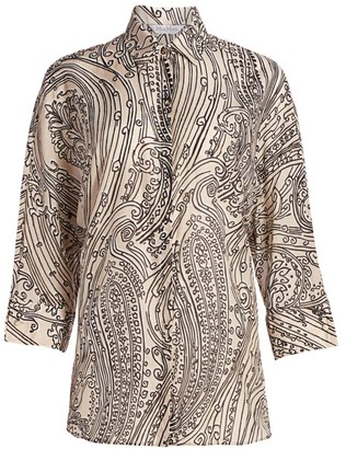 Max Mara Charlot Paisley Dolman-Sleeve Shirt