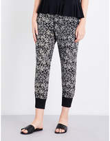 The Kooples Waterlily-print skinny silk-crepe jogging bottoms