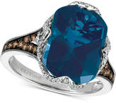 LeVian Le Vian Chocolatier Blue Topaz (6-9/10 ct. t.w.) and Diamond (3/8 ct. t.w.) Ring in 14k White Gold