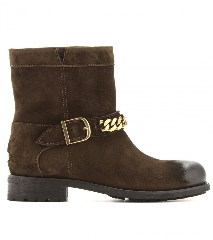 Jimmy Choo Daze suede biker boots with waxed toe
