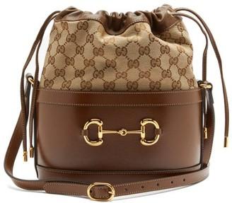 Gucci 1955 Horsebit Gg Supreme And Leather Bucket Bag - Brown Multi