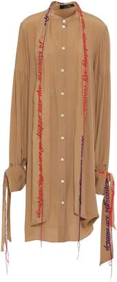 Rokh Embroidered Crepe De Chine Midi Shirt Dress