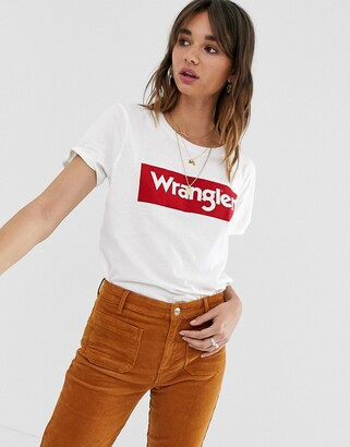 Wrangler block logo t shirt-White