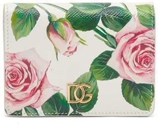 Dolce & Gabbana Logo-plaque Rose-print Leather Bi-fold Wallet - Womens - White Multi
