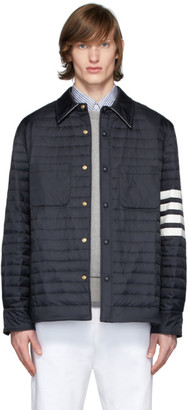 Thom Browne Navy Down 4-Bar Quilted Shirt Jacket