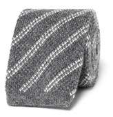 Tom Ford 7.5cm Striped Knitted Cashmere Tie - Gray