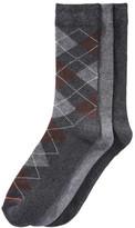 Joe Fresh Men's 3 Pack Argyle Socks, Charcoal (Size 10-13)