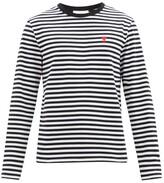 Thumbnail for your product : Ami De Cur-logo Striped Cotton-jersey T-shirt - Black White