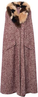 Miu Miu Long Hooded Fur Trim Cape Coat