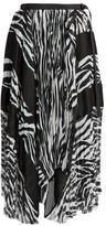 Sacai Zebra-Print Pleated Midi Skirt