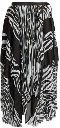 Sacai Zebra-Print Pleated Midi Skirt