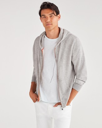 7 For All Mankind Duo Fold Jersey Signal Hoodie in Heather Grey