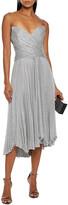 Thumbnail for your product : Maria Lucia Hohan Kaira Crossover Pleated Metallic Mesh Midi Dress