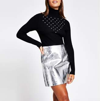 River Island Womens Silver leather mini skirt