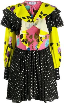 MSGM Mix-Print Ruffled Dress