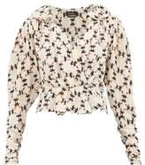 Isabel Marant Blinea Geometric-print Stretch-silk Wrap Top - Womens - Ivory Multi