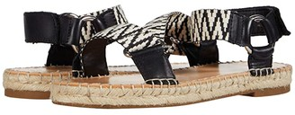 Frye AND CO. Kole Asymmetrical Sandal (Black/White Waxed Leather/Multi Zig Webbing) Women's Shoes
