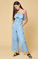 Lucca Couture Denim Strapless Ruffle Jumpsuit