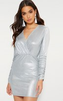 PrettyLittleThing Silver Glitter Plunge Long Ruched Sleeve Bodycon Dress