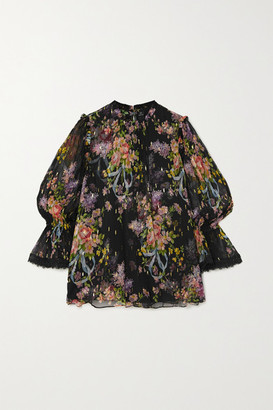 Needle & Thread Metallic Floral-print Fil Coupe Chiffon Blouse - Black