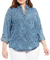Westbound Plus Point Collar Split Back Hi-Low Shirt