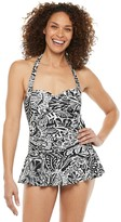 Chaps Women's Print Halter Tummy Slimmer Skirted One-Piece Swimsuit