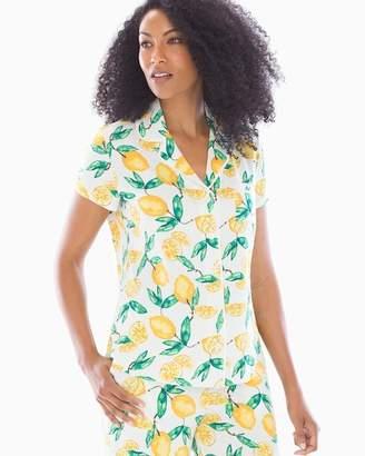 Cool Nights Short Sleeve Grosgrain Trim Notch Collar Pajama Top Lemon Citrus Ivory