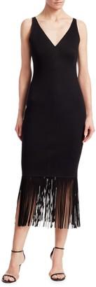 Akris Punto Leather Fringe Jersey Dress