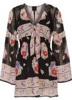 Anna Sui Shirred Printed Silk-Voile Mini Dress