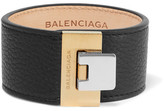 Balenciaga Le Dix Textured-leather, Silver And Gold-tone Bracelet - Black