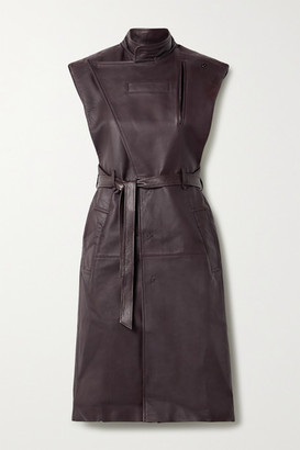 Situationist Belted Leather Trench Coat - Burgundy