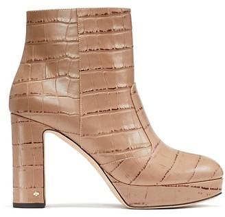 Kate Spade Barrett Croc-Embossed Leather Platform Ankle Boots