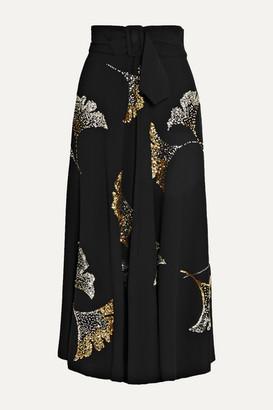 Dries Van Noten Simiana Belted Sequin-embellished Crepe Midi Skirt - Black
