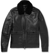 HUGO BOSS Graven Shearling-trimmed Leather Bomber Jacket - Black