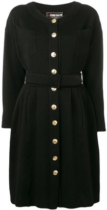 Fendi Pre Owned 1980's Long-Sleeved Belted Dress