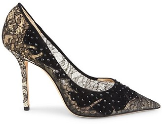 Jimmy Choo Love Embellished Lace & Suede Pumps