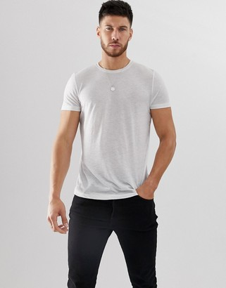 Asos DESIGN t-shirt in linen mix in white