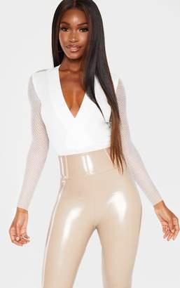 PrettyLittleThing Cream Long Sleeve Fishnet Plunge Bodysuit