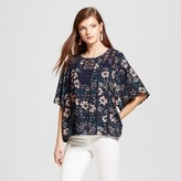 Knox Rose Women's Kimono Sleeve Floral Top with Crochet and Cami
