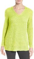 Eileen Fisher Petite Women's V-Neck Organic Linen Sweater