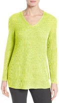 Eileen Fisher Women's V-Neck Organic Linen Sweater