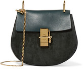 Chloé Drew Small Leather And Suede Shoulder Bag - Forest green