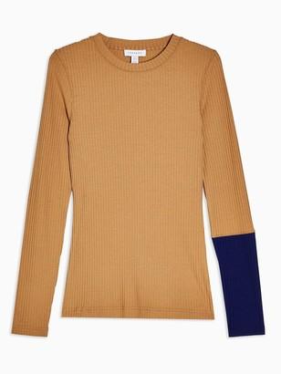 Topshop Colourblock Long Sleeve T-shirt - Multi