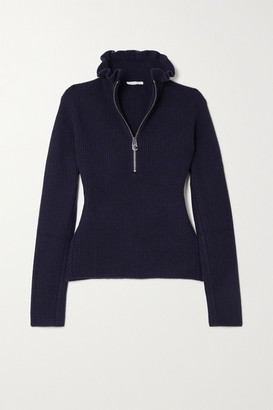 Chloé Ruffled Ribbed Wool And Cashmere-blend Sweater - Navy