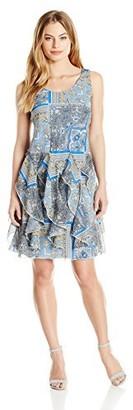 Robbie Bee Women's Petite Sleeveless Scarf Printed Chiffon Corkscrew Dress