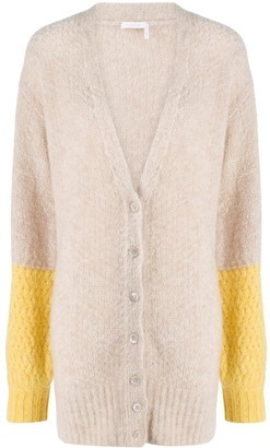 See by Chloe Colour-Block Button Cardigan