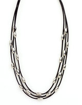Nine West Necklace, Three Row Oval Bead Necklace