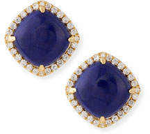 Frederic Sage 18K Gold Lapis & Diamond Stud Earrings