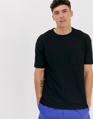 Jack and Jones Core over sized pocket logo t-shirt in black
