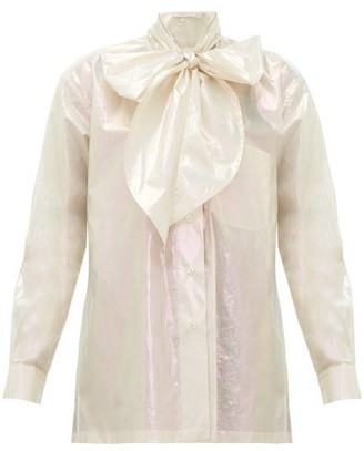 Christopher Kane Pussy-bow Iridescent Cotton Blouse - Womens - Cream